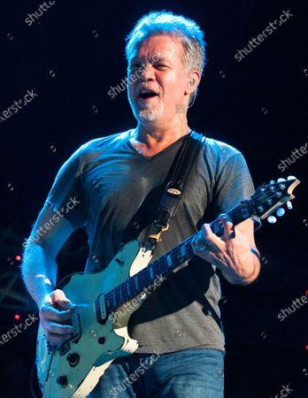Stock Picture of Guitarist Eddie Van Halen dies of cancer at 65. In this image, Eddie Van Halen of Van Halen performs at Perfect Vodka Amphitheatre in West Palm Beach, Florida on October 15, 2015