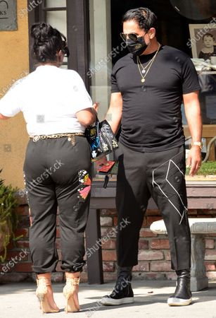 Exclusive - Reza Farahan and Mercedes Javid, from the TV show 'Shahs of Sunset,' seen filming in Studio City