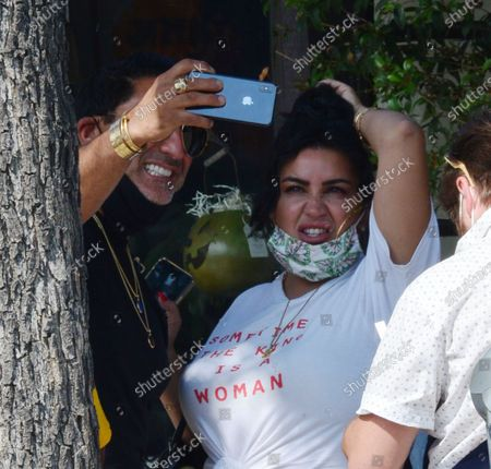 Stock Picture of Exclusive - Reza Farahan and Mercedes Javid, from the TV show 'Shahs of Sunset,' seen filming in Studio City