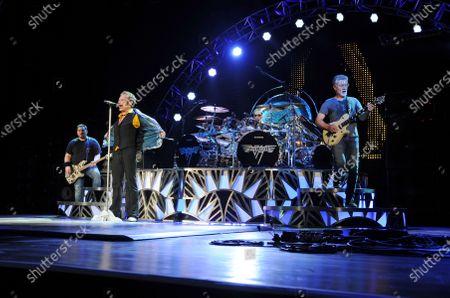 Wolfgang Van Halen, David Lee Roth, Alex Van Halen and Eddie Van Halen of Van Halen perform at The Perfect Vodka Amphitheater, West Palm Beach, Florida, USA - 15 Sep 2015