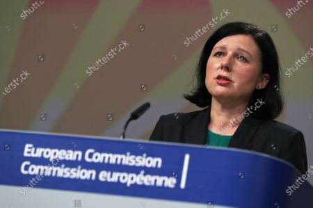 European Commissioner for Transparency and Values Vera Jourova presents the EU framework on Roma equality and inclusion strategies during an online news conference at the European Commission headquarters in Brussels