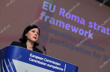 Stock Picture of European Commissioner for Transparency and Values Vera Jourova presents the EU framework on Roma equality and inclusion strategies during an online news conference at the European Commission headquarters in Brussels