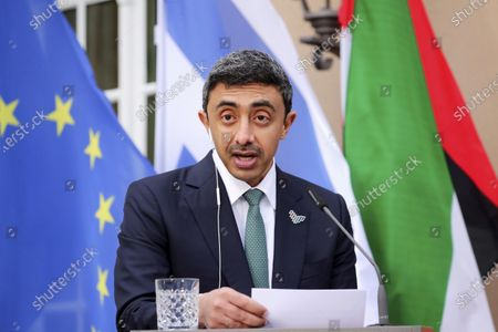 Stock Image of United Arab Emirates' Foreign Minister Sheikh Abdullah bin Zayed al-Nahyan speaks during a news conference with his Israeli counterpart Gabi Ashkenazi and German Foreign Minister Heiko Maas following their meeting in Berlin, Germany