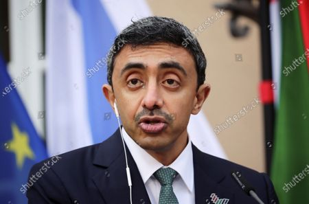 United Arab Emirates' Foreign Minister Sheikh Abdullah bin Zayed al-Nahyan speaks during a news conference with his Israeli counterpart Gabi Ashkenazi and German Foreign Minister Heiko Maas following their meeting in Berlin, Germany