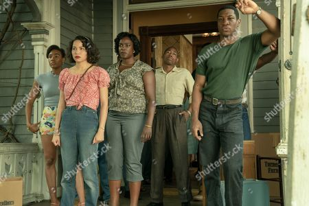 Stock Picture of Naomi Mack as Carmen, Jurnee Smollett-Bell as Letitia 'Leti' Lewis, Wunmi Mosaku as Ruby Baptiste  Keon Mitchell as James and Jonathan Majors as Atticus Freeman