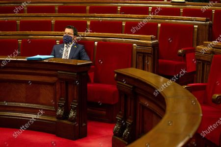 Ruling Catalonia's Vice-president Pere Aragones attends Catalonian Government's Question Time at Catalonia's regional Parliament in Barcelona, north-eastern Spain, 07 October 2020. This is the first Catalan Government's Question Time after the disqualification of Quim Torra as Catalonia's President.