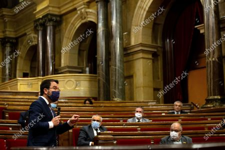 Ruling Catalonia's Vice-president Pere Aragones (L) speaks during Catalonian Government's Question Time at Catalonia's regional Parliament in Barcelona, north-eastern Spain, 07 October 2020. This is the first Catalan Government's Question Time after the disqualification of Quim Torra as Catalonia's President.