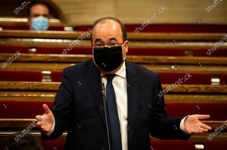 PSC-Units's leader socialist Miquel Iceta speaks during Catalonian Government's Question Time at Catalonia's regional Parliament in Barcelona, north-eastern Spain, 07 October 2020. This is the first Catalan Government's Question Time after the disqualification of Quim Torra as Catalonia's President.