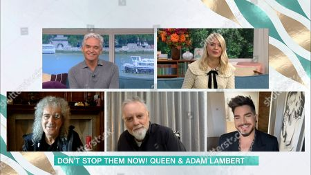 Stock Picture of Phillip Schofield, Holly Willoughby, Brian May, Roger Taylor and Adam Lambert