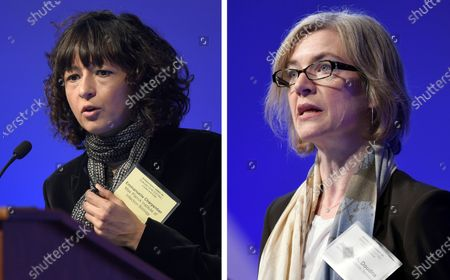 """This file combo image shows Emmanuelle Charpentier, left, and Jennifer Doudna, both speaking at the National Academy of Sciences international summit on the safety and ethics of human gene editing, in Washington. The 2020 Nobel Prize for chemistry has been awarded to Emmanuelle Charpentier and Jennifer Doudna """"for the development of a method for genome editing."""" A panel at the Swedish Academy of Sciences in Stockholm made the announcement Wednesday Oct. 7, 2020"""
