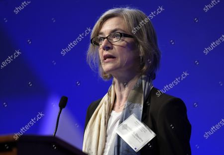 Jennifer Doudna, a University of California, Berkeley professor and co-inventor of the CRISPR gene-editing tool, speaks at the National Academy of Sciences international summit on the safety and ethics of human gene editing, in Washington. Doudna and Emmanuelle Charpentier have been awarded the Nobel Prize in chemistry for the development of a method for genome editing