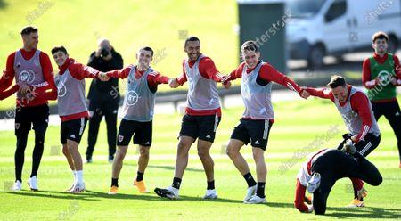 Joe Rodon, Dan James, Ben Woodburn, Ben Cabango, Harry Wilson, Connor Roberts during training.