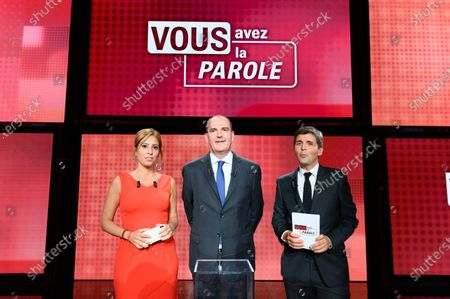 Stock Picture of Lea Salame, Jean Castex and Thomas Sotto. French Prime Minister Jean Castex  attends in the political show  Vous avez la parole on French TV channel France 2 in the studios of French public broadcaster France Televisions.