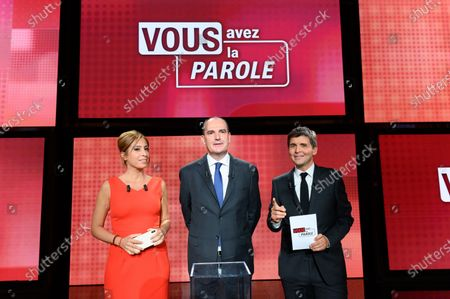 Lea Salame, Jean Castex and Thomas Sotto. French Prime Minister Jean Castex  attends in the political show  Vous avez la parole on French TV channel France 2 in the studios of French public broadcaster France Televisions.