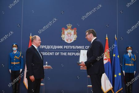 Belgrade, October 7, 2020 - The President of Serbia, Aleksandar Vucic, presented the Order of the Republic of Serbia on a ribbon to Prince Albert II of Monaco, today at the Palace of Serbia in Belgrade. (BETAPHOTO / MILOS MISKOV / DS)