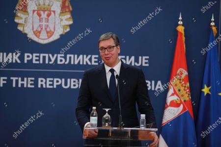 Serbian President Aleksandar Vucic during a meeting at the Serbia Palace