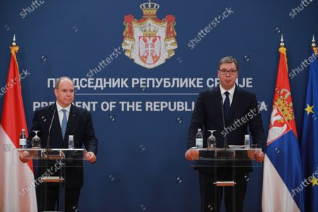 Belgrade, October 7, 2020 - The President of Serbia, Aleksandar Vucic, and Prince Albert II of Monaco addressed the press after today's meeting at the Palace of Serbia in Belgrade. (BETAPHOTO / MILOS MISKOV / DS)