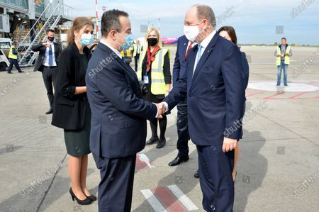 """The Minister of Foreign Affairs of Serbia, Ivica Dacic, welcomed Prince Albert II of Monaco, today at the """"Nikola Tesla"""" Airport in Belgrade."""