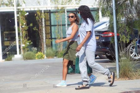 Jurnee Smollett-Bell is seen walking down the street with a friend.