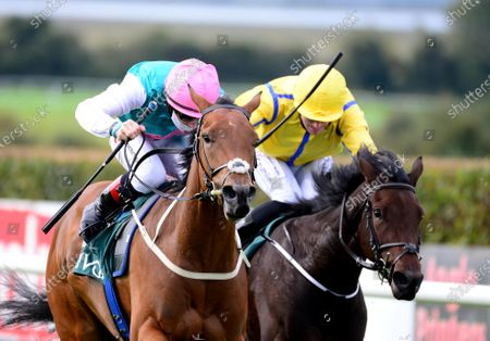 NAVAN 7-October-2020. ALARM CALL and Colin Keane (left) beats off COLFER KAY (Billy Lee) to win for owner Khalid Abdullah and trainer Ger Lyons.