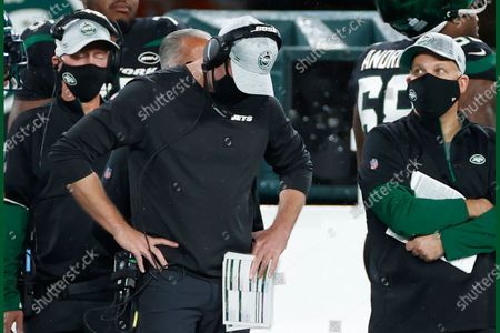 New York Jets head coach Adam Gase reacts during an NFL football game against the Denver Broncos, in East Rutherford, N.J. The New York Jets and Giants are both 0-4 for the first time since 1976, and victories might be tough to come by this season. That has left the fans of both teams frustrated, disgusted and already looking to next season just four games into this season