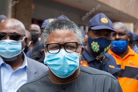 Minster of transport Fikile Mbalula is seen wearing a facemask during the strike. Congress of South African Trade Unions took to the streets of Pretoria in a strike against government with the encouragement of the Federation of Trade Unions to challenge the rigged economic system in South Africa.