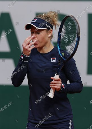 Laura Siegemund of Germany reacts during the women's singles quarterfinal match against Petra Kvitova of the Czech Republic at the French Open tennis tournament 2020 at Roland Garros in Paris, France, Oct. 7, 2020.