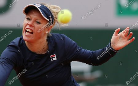 Laura Siegemund of Germany hits a return during the women's singles quarterfinal match against Petra Kvitova of the Czech Republic at the French Open tennis tournament 2020 at Roland Garros in Paris, France, Oct. 7, 2020.