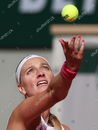 Petra Kvitova of the Czech Republic serves during the women's singles quarterfinal match against Laura Siegemund of Germany at the French Open tennis tournament 2020 at Roland Garros in Paris, France, Oct. 7, 2020.