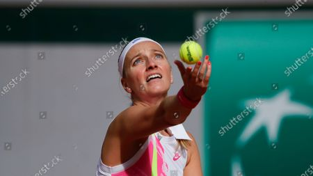 Petra Kvitova of the Czech Republic serves against Germany's Laura Siegemund in the quarterfinal match of the French Open tennis tournament at the Roland Garros stadium in Paris, France