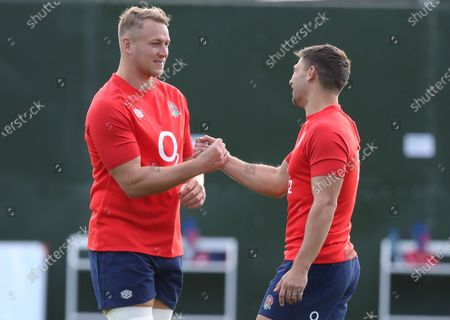 Stock Image of Ben Youngs (R) and Alex Dombrandt (L) of England greet each other during a Rugby Union training session at the Lensbury Hotel in Teddington, Britain 07 October 2020.