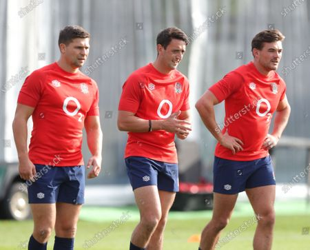 Ben Youngs (L) Alex Mitchell (C) and George Furbank (R) of England during a Rugby Union training session at the Lensbury Hotel in Teddington, Britain 07 October 2020.