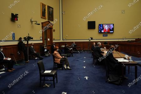 Chairwoman Carolyn Maloney (D-NY) (on screen) begins the hearing conducted by the House Committee on Oversight and Reform to discuss the role of the Internal Revenue Service during the pandemic in Washington, DC, USA, on 07 October 2020. The House called on IRS Commissioner Charles Rettig to testify following a report from The New York Times about US President Donald J. Trump's tax returns.