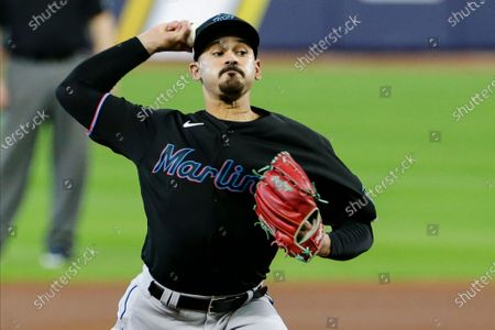 Miami Marlins' Pablo Lopez delivers a pitch during the second inning in Game 2 of a baseball National League Division against the Atlanta Braves Series, in Houston