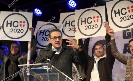 Heinz-Christian Strache, former leader of the right-wing Freedom Party, FPOE, delivers a speech for his party Team Strache at a closing rally ahead for the local elections in Vienna, Austria