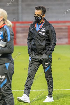 Hope Powell, Head Coach of Brighton & Hove Albion FC Women ahead of the FA Women's Continental Cup match between Brighton and Hove Albion Women and West Ham United Women at The People's Pension Stadium, Crawley