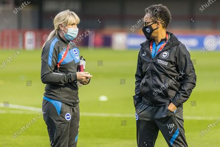 Lisa Walsh, Physiotherapist of Brighton & Hove Albion FC & Hope Powell, Head Coach of Brighton & Hove Albion FC Women ahead of the FA Women's Continental Cup match between Brighton and Hove Albion Women and West Ham United Women at The People's Pension Stadium, Crawley
