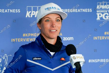 Mel Reid, of England, speaks during a news conference before the KPMG Women's PGA Championship golf tournament at the Aronimink Golf Club, in Newtown Square, Pa