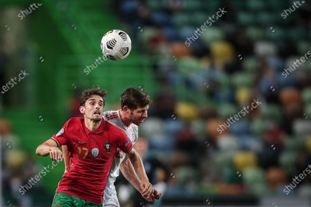 Portugal's Trincao  in action against Spain's Sergi Roberto during the friendly soccer match between Portugal and Spain at Alvalade stadium, in Lisbon, Portugal, 07 October 2020.