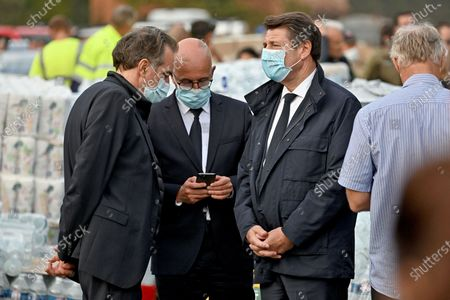 Renaud Muselier, Eric Ciotti et Christian Estrosi during a visit to Breil Sur Roya, in the Vallee de la Roya, some 50kms north-east of Nice, southeastern France, after storms and extensive flooding caused widespread damage in the Alpes-Maritimes departement.