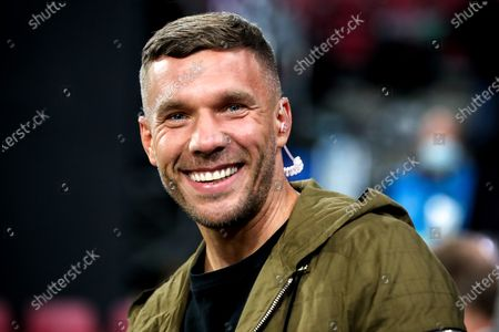 Former German national soccer player Lukas Podolski looks on prior to the international friendly soccer match between Germany and Turkey at Rheinenergiestadion in Cologne, Germany, 07 October 2020.