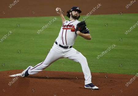 Atlanta Braves pitcher Ian Anderson throws against the Miami Marlins in the top of the first inning of their National League Division Series playoff game two at Minute Maid Park in Houston, Texas, USA, 07 October 2020.