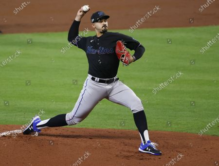 Stock Photo of Miami Marlins pitcher Pablo Lopez throws against the Atlanta Braves in the bottom of the first inning of their National League Division Series playoff game two at Minute Maid Park in Houston, Texas, USA, 07 October 2020.