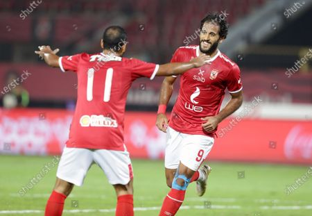 Stock Picture of Al-Ahly player Marwan Mohsen (R) celebrates a goal during the Egyptian Premier League soccer match between Al-Ahly and Enppi at Salam Stadium in Cairo, Egypt, 07 October 2020.