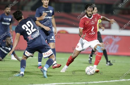 Al-Ahly player Marwan Mohsen (R) in action against Enppi player Kareem Foad (L) during the Egyptian Premier League soccer match between Al-Ahly and Enppi at Salam Stadium in Cairo, Egypt, 07 October 2020.