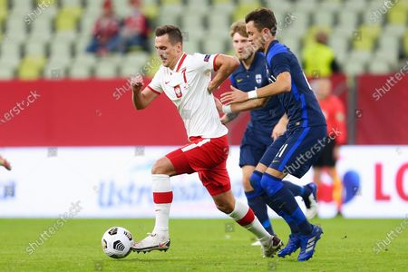 Arkadiusz Milik of Poland in action during the international friendly match between Poland and Finland at PGE Arena