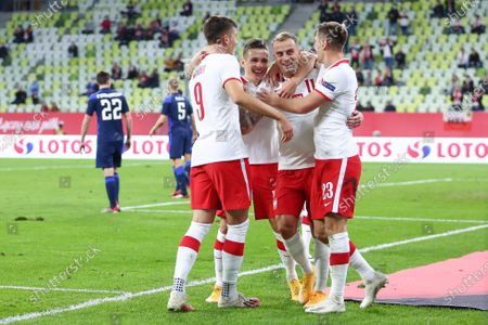 Kamil Grosicki of Poland celebrates scoring a goal during the international friendly match between Poland and Finland at PGE Arena
