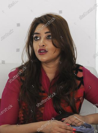 Stock Image of Bollywood actor Payal Ghosh during a media interaction at Sector 63 on October 7, 2020 in Noida, India. Payal Ghosh met Union Minister of State for Home G Kishan Reddy and sought speedy justice, in the wake of her allegation of sexual misconduct against filmmaker Anurag Kashyap.