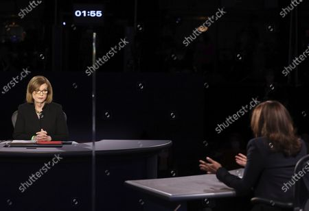 Democratic vice presidential candidate Sen. Kamala Harris, D-Calif., speaks as moderator USA Today Washington Bureau Chief Susan Page listens during the vice presidential debate, at Kingsbury Hall on the campus of the University of Utah in Salt Lake City