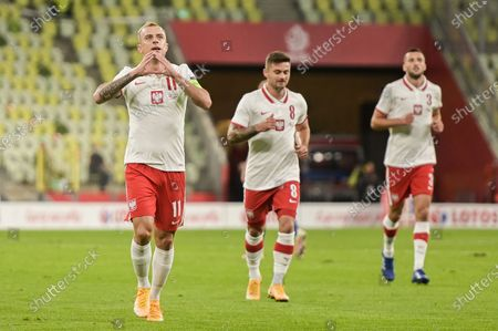 Kamil Grosicki of Poland seen celebrating a goal with his teammates during a football friendly match between Poland and Finland at the Energa Stadium in Gdansk. (Final score; Poland 5:1 Finland)